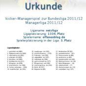 Kicker-Managerspiel – netzliga Urkunde 2011/12