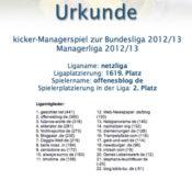Kicker-Managerspiel – netzliga Urkunde 2012/13