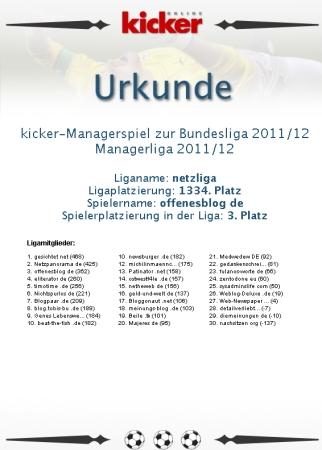 netzliga Saison 2011/12 Urkunde