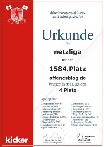 netzliga Saison 2013/14 Urkunde