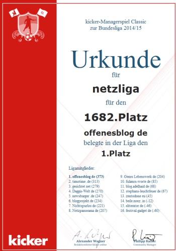 netzliga Saison 2014/15 Urkunde